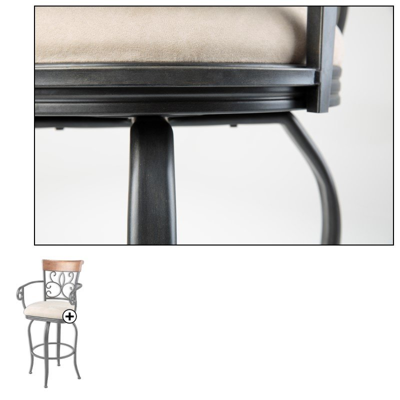 Fashion Bed Group Hartford Metal Counter Stool with Sand Microfiber Swivel-Seat and Dark Roast Frame Finish - 2-Pack - 26-Inch
