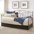 Fashion Bed Group Hinsdale Metal Daybed with Sloping Rails and Vertical Spindles - Antique Pewter Finish - Twin