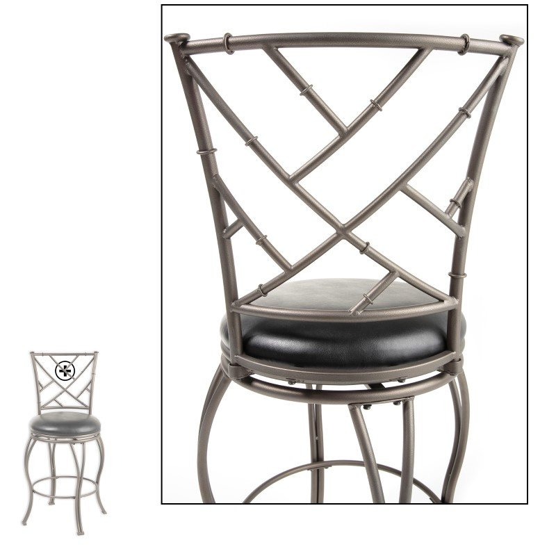 Fashion Bed Group Honolulu Metal Counter Stool with Black Upholstered Swivel-Seat and Coffee Metal Frame Finish - 26-Inch