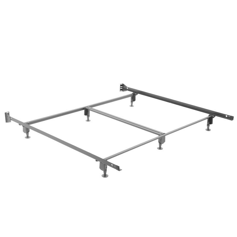 Fashion Bed Group Inst-A-Matic Hospitality H774G Bed Frame with Fixed Headboard Brackets and (6) 2-Piece Glide Legs - Hotel King