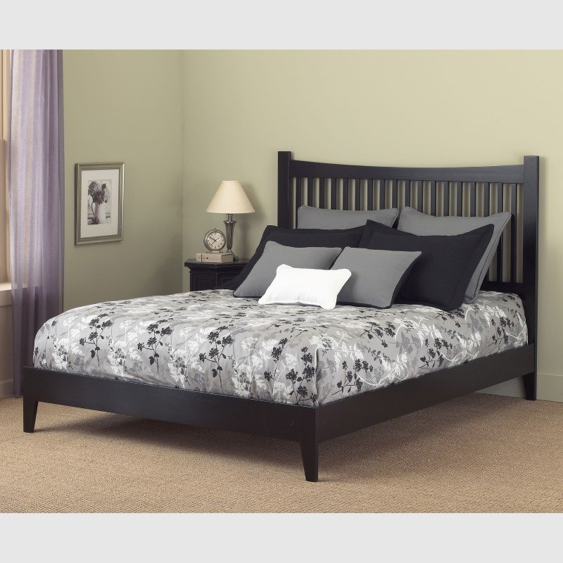 Fashion Bed Group Jakarta Platform Bed with Wood Frame and Straight Spindle Headboard Design - Black Finish - Queen
