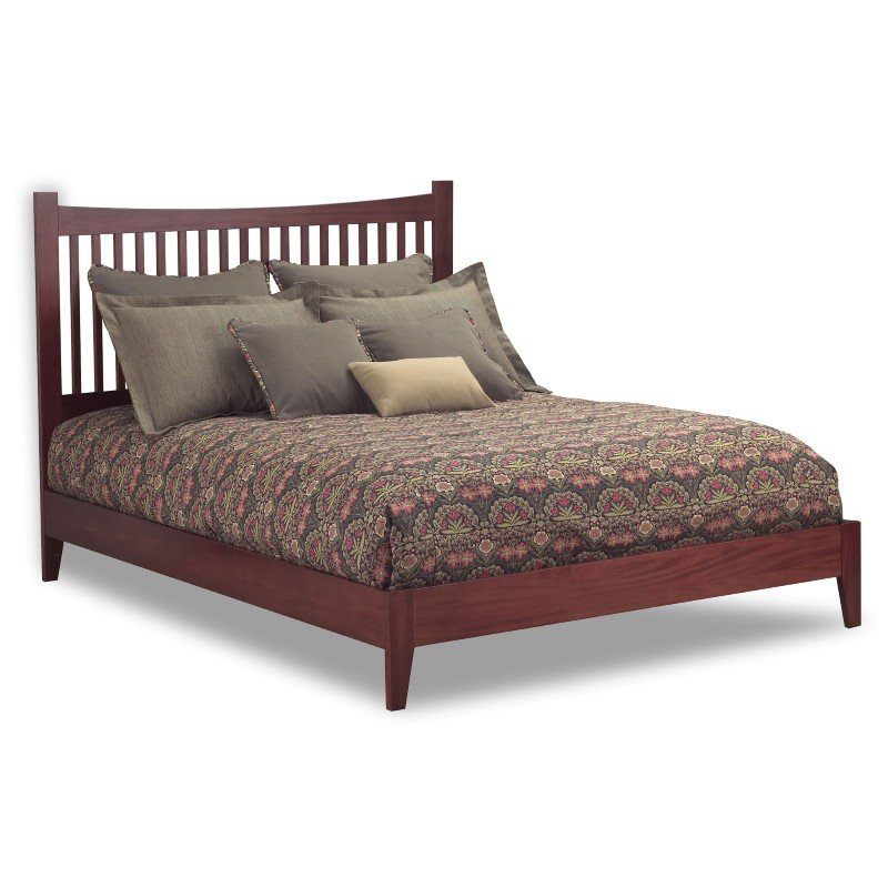 Fashion Bed Group Jakarta Platform Bed with Wood Frame and Straight Spindle Headboard Design - Mahogany Finish - King