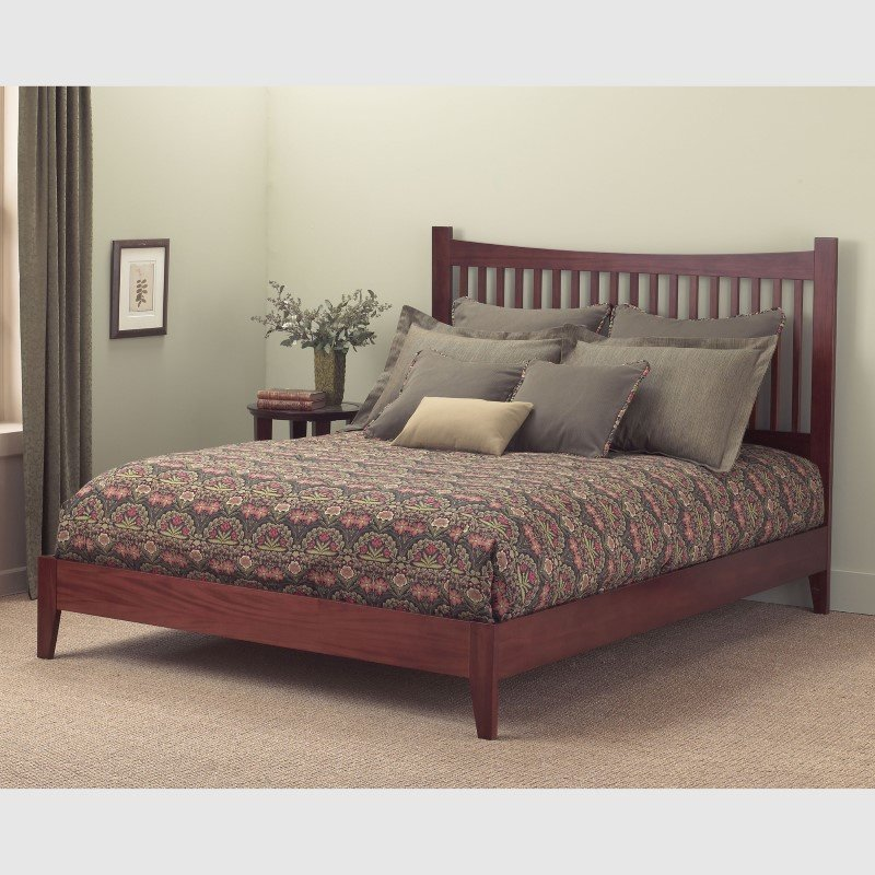 Fashion Bed Group Jakarta Platform Bed with Wood Frame and Straight Spindle Headboard Design - Mahogany Finish - Queen