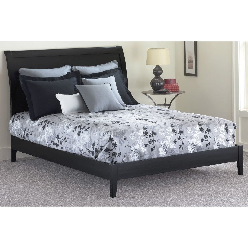 Fashion Bed Group Java Platform Bed with Wood Frame and Sleigh Headboard - Black Finish - California King