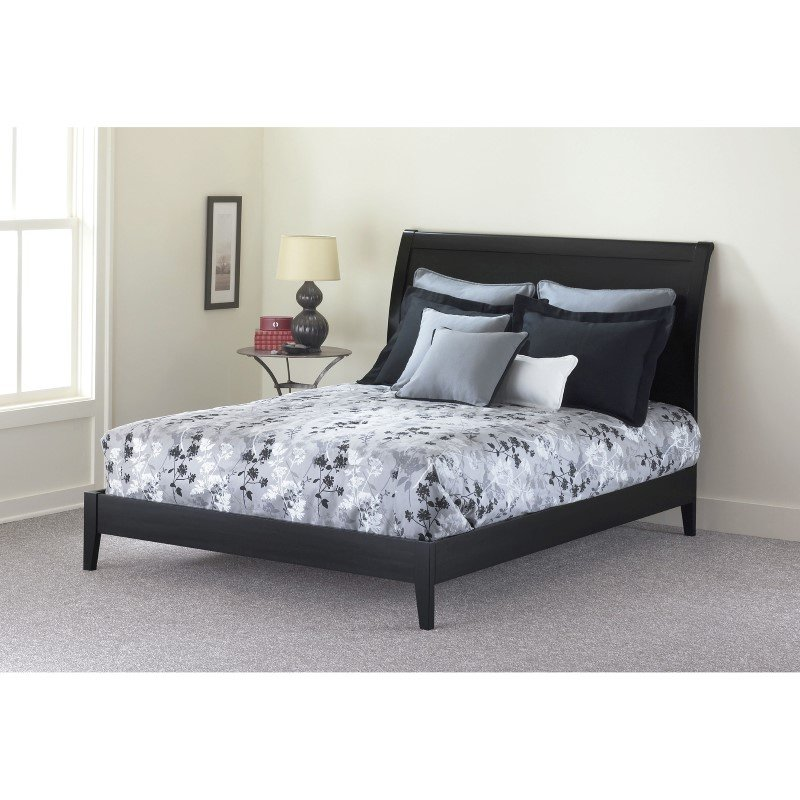 Fashion Bed Group Java Platform Bed with Wood Frame and Sleigh Headboard - Black Finish - King