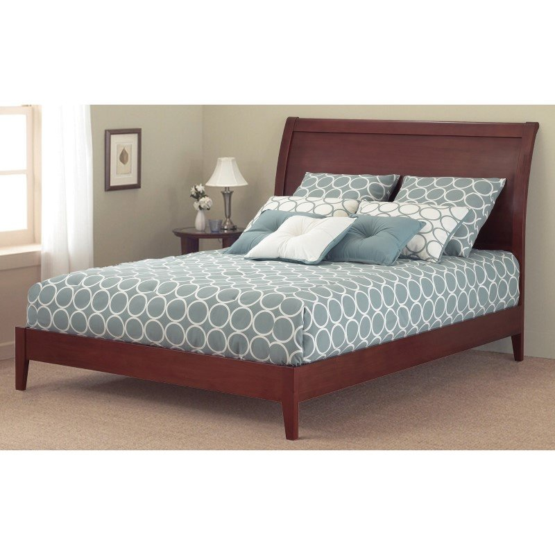 Fashion Bed Group Java Platform Bed with Wood Frame and Sleigh Headboard - Mahogany Finish - Full