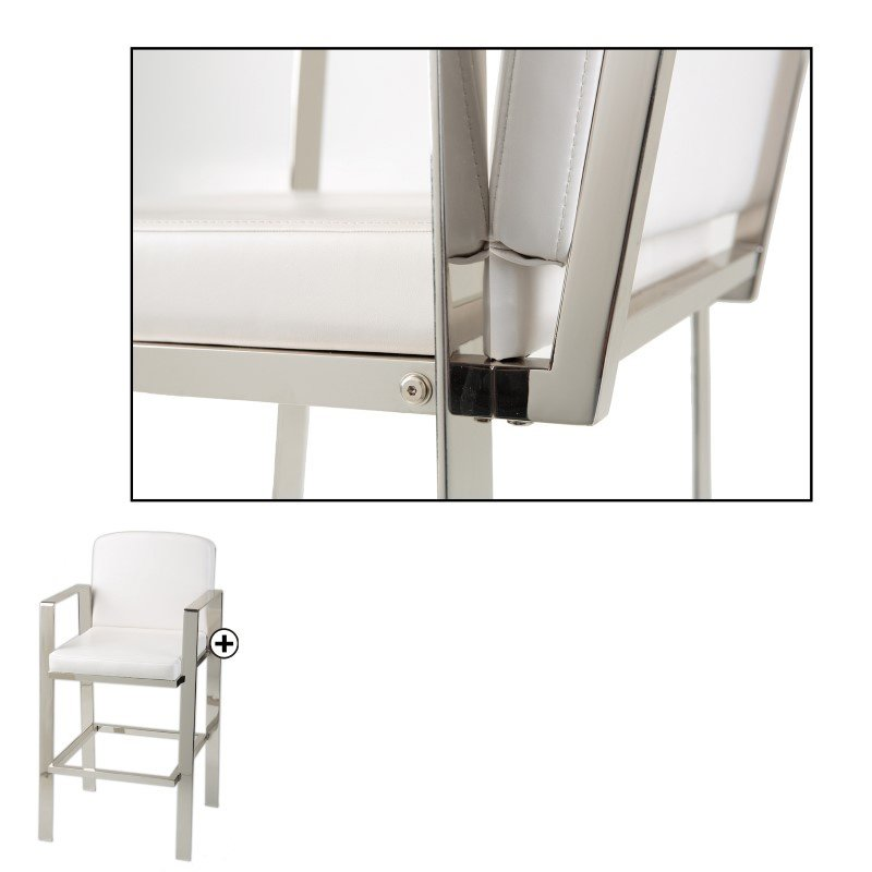 Fashion Bed Group Juneau Metal Barstool with White Upholstered Seat and Nickel Frame Finish - 2-Pack - 30-Inch
