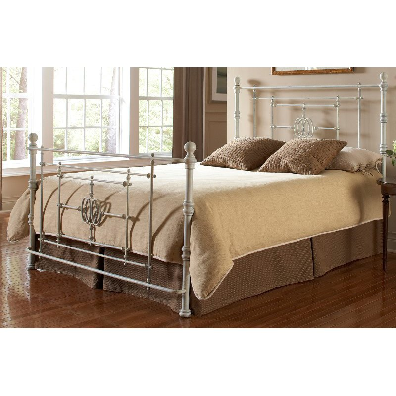 Fashion Bed Group Lafayette Complete Bed with Metal Duo Panels and Traditional Grill Castings - Distressed White Finish - California King