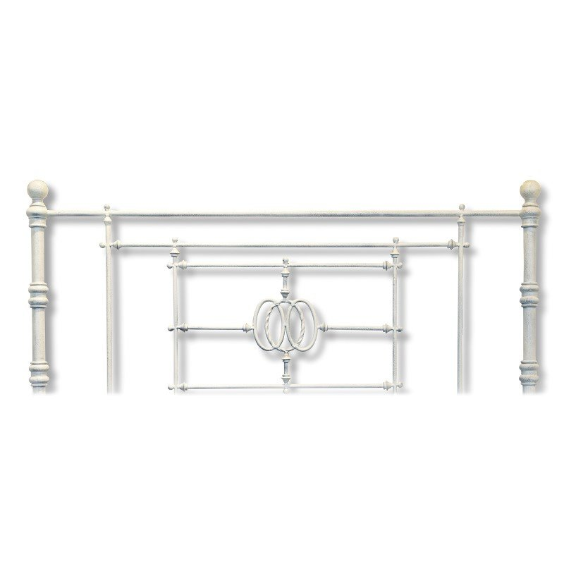 Fashion Bed Group Lafayette Metal Headboard Panel with Traditional Grill Castings - Distressed White Finish - Queen