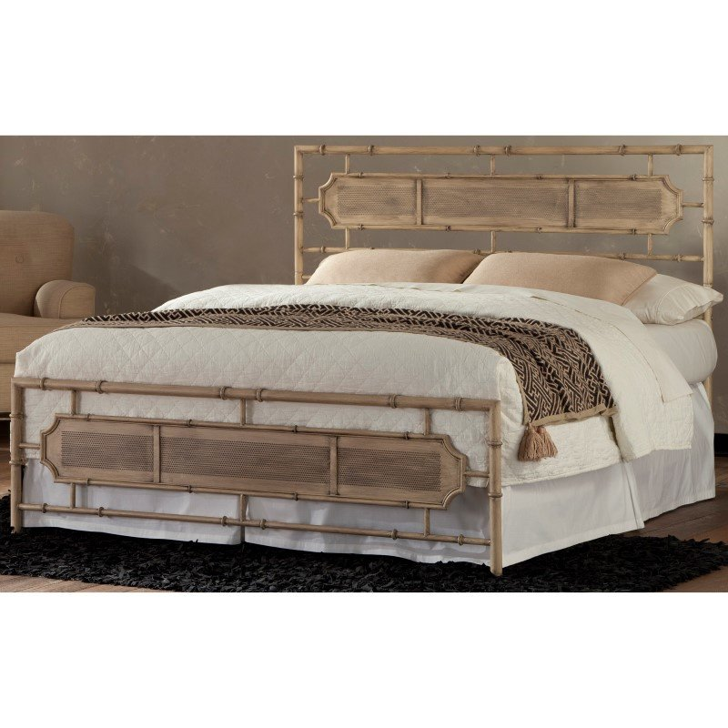 Fashion Bed Group Laughlin Snap Bed with Naturalistic Wooden Inspired Panels and Folding Metal Side Rails - Desert Sand Finish - Full
