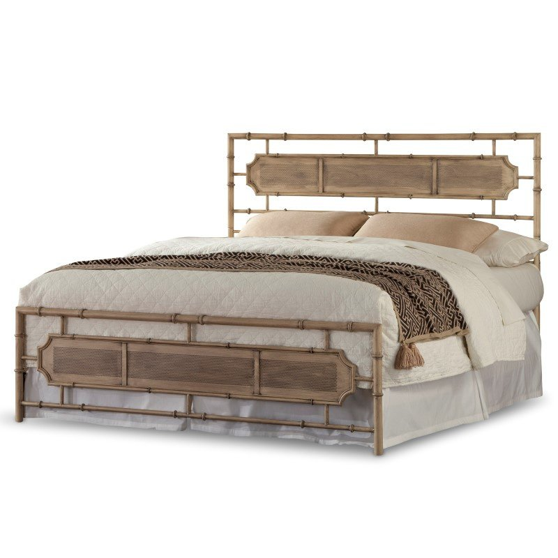 Fashion Bed Group Laughlin Snap Bed with Naturalistic Wooden Inspired Panels and Folding Metal Side Rails - Desert Sand Finish - King