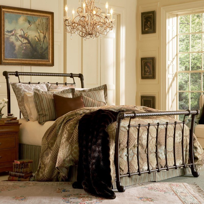 Fashion Bed Group Legion Complete Bed with Metal Sleigh Panels and Twisted Rope Top Rails - Ancient Gold Finish - Queen