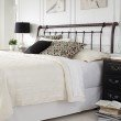 Fashion Bed Group Legion Metal Headboard with Sleigh Design and Twisted Rope Top Rail - Ancient Gold Finish - King