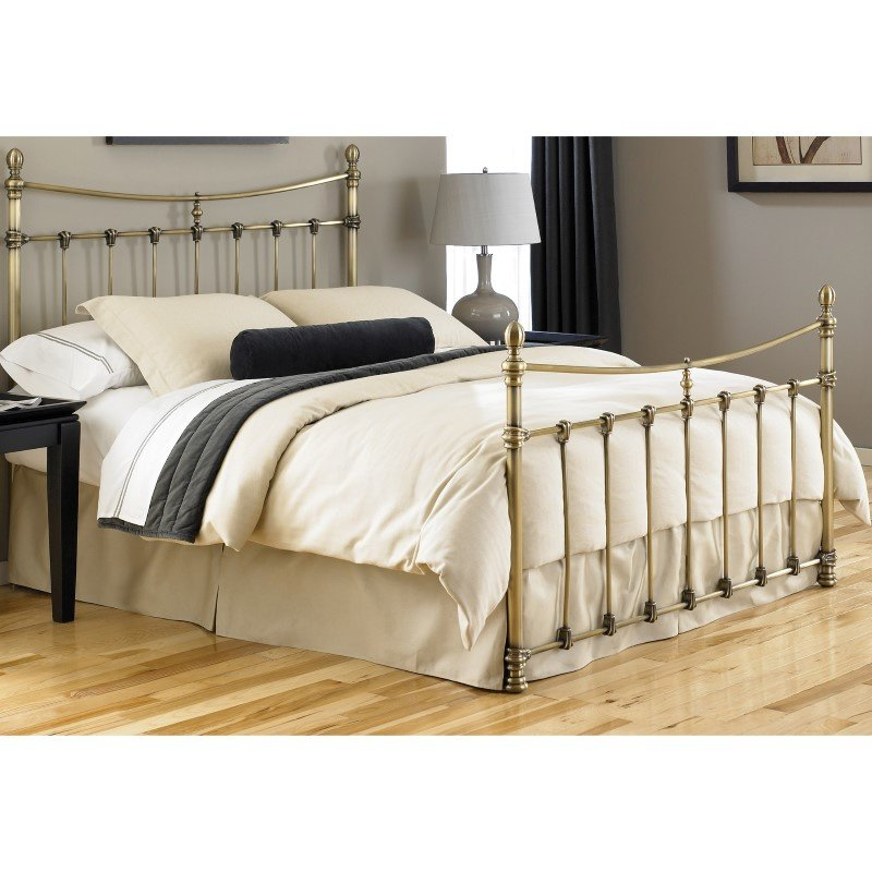Fashion Bed Group Leighton Complete Bed with Metal Duo Panels and Scalloped Castings - Antique Brass Finish - King