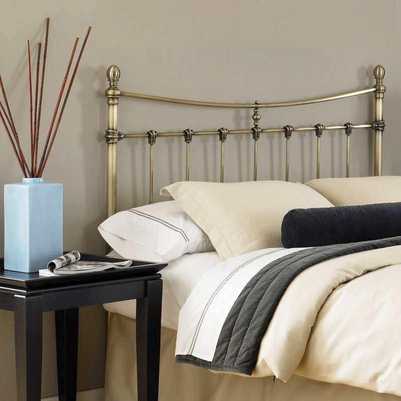 Fashion Bed Group Leighton Metal Headboard with Rounded Posts and Scalloped Castings - Antique Brass Finish - Full