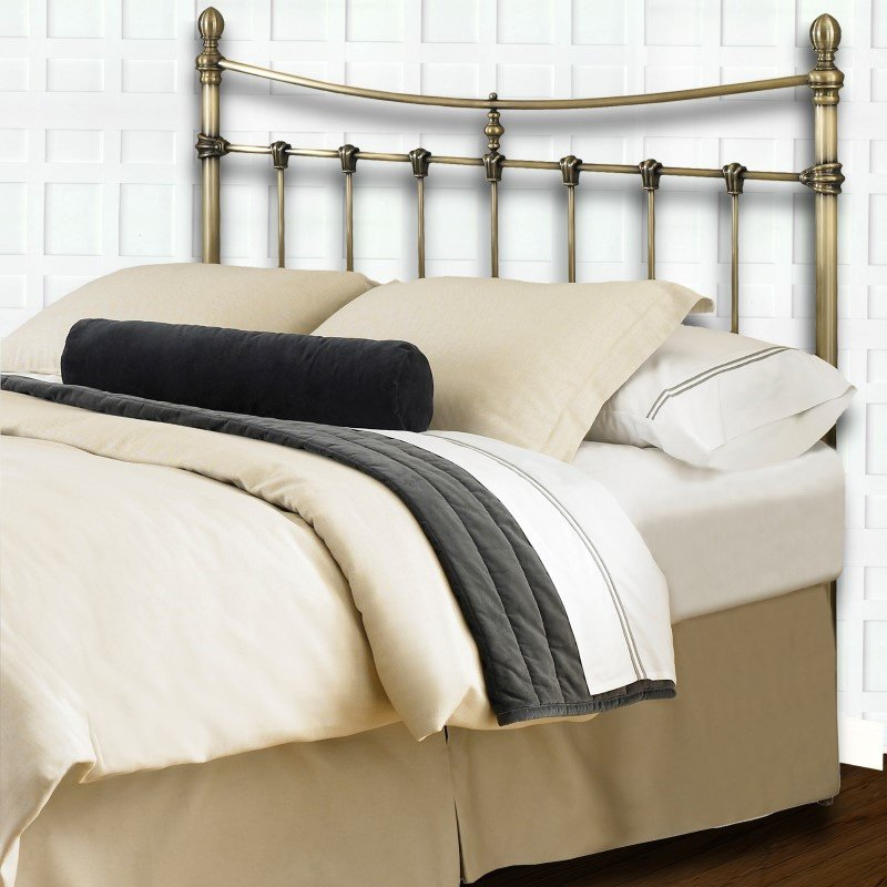 Fashion Bed Group Leighton Metal Headboard with Rounded Posts and Scalloped Castings - Antique Brass Finish - Queen