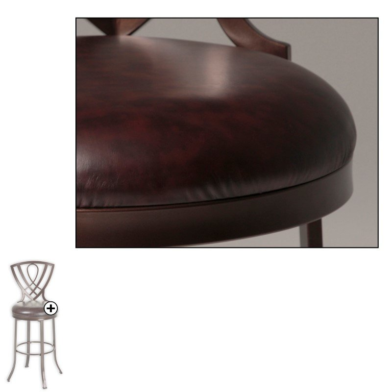 Fashion Bed Group Lincoln Metal Counter Stool with Chocolate Upholstered Swivel-Seat and Brown Crystal Frame Finish - 2-Pack - 26-Inch