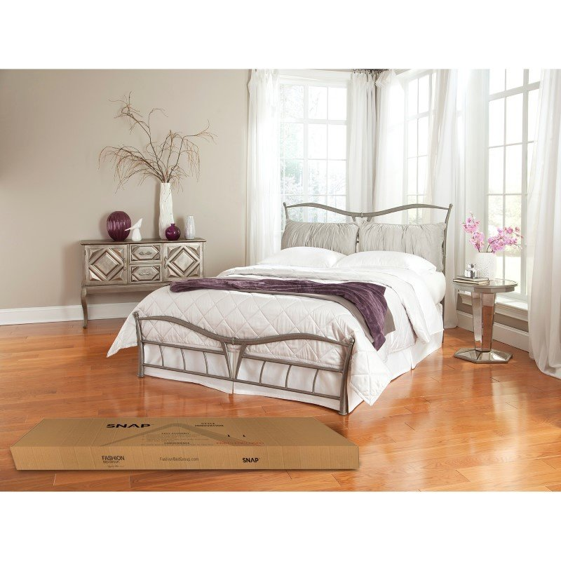 Fashion Bed Group Lotus Snap Bed with Detachable Headboard Pillows and Folding Metal Side Rails - Brushed Pewter Finish - King