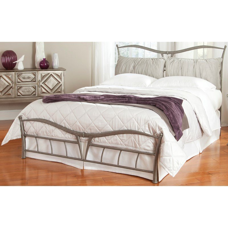 Fashion Bed Group Lotus Snap Bed with Detachable Headboard Pillows and Folding Metal Side Rails - Brushed Pewter Finish - Queen