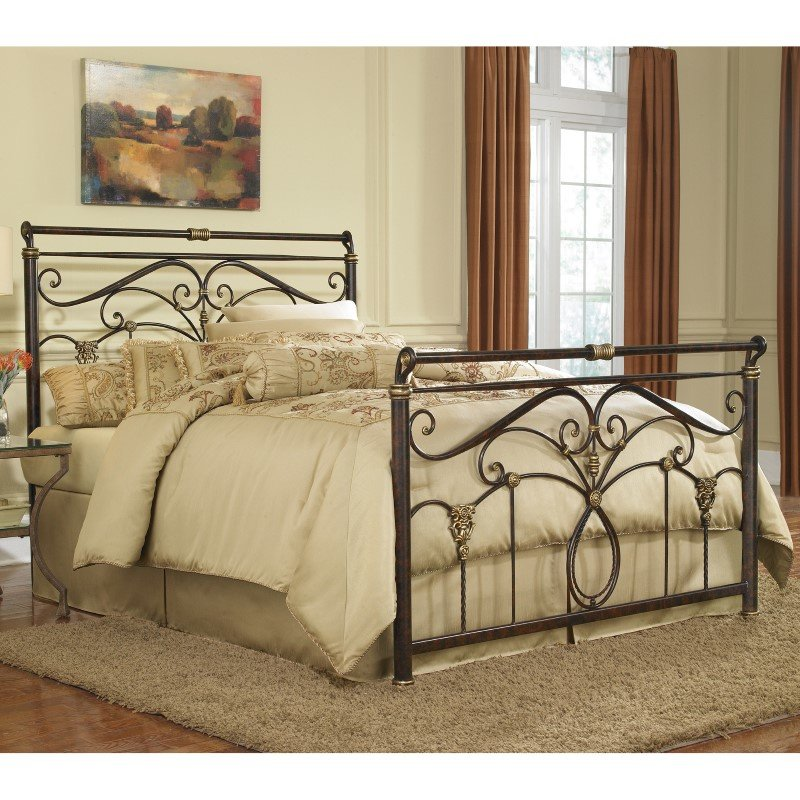 Fashion Bed Group Lucinda Complete Bed with Intricate Metal Scrollwork and Sleighed Top Rail Panels - Marbled Russet Finish - Full