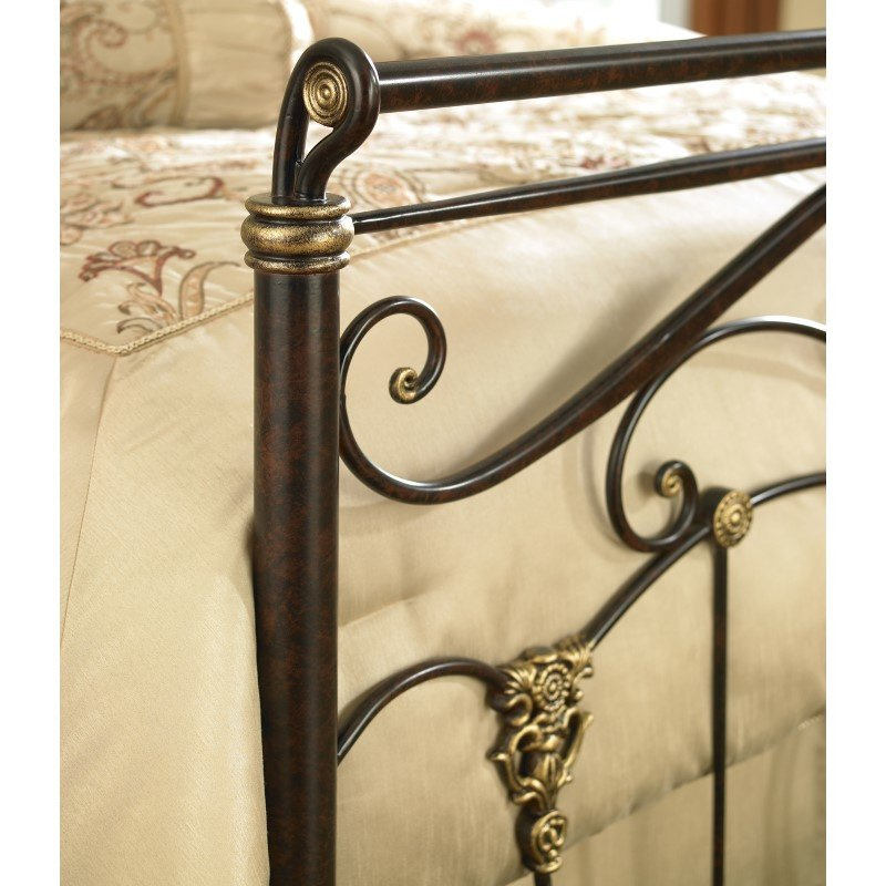 Fashion Bed Group Lucinda Complete Bed with Intricate Metal Scrollwork and Sleighed Top Rail Panels - Marbled Russet Finish - Queen