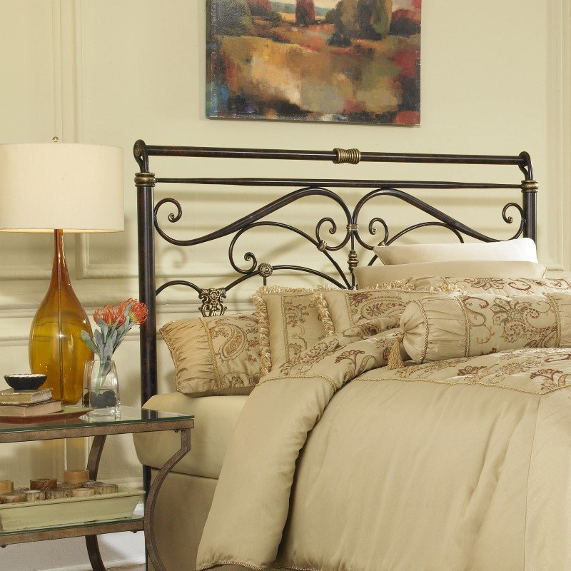 Fashion Bed Group Lucinda Metal Headboard with Intricate Scrollwork and Sleighed Top Rail Panel - Marbled Russet Finish - Queen
