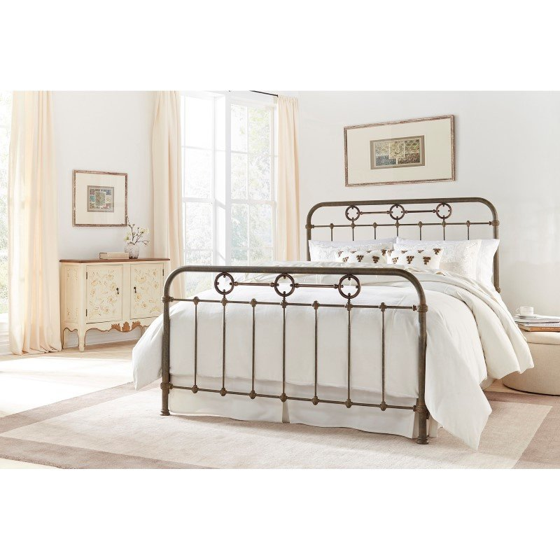 Fashion Bed Group Madera Complete Bed with Metal Panels and Brass Plated Designs - Rustic Green Finish - King