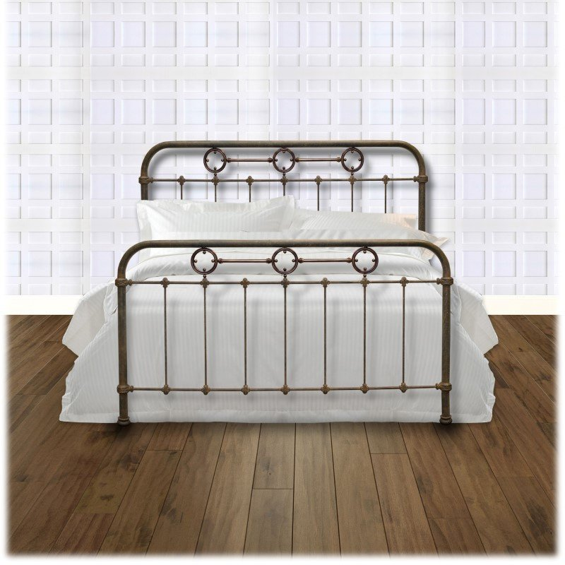 Fashion Bed Group Madera Complete Bed with Metal Panels and Brass Plated Designs - Rustic Green Finish - Queen