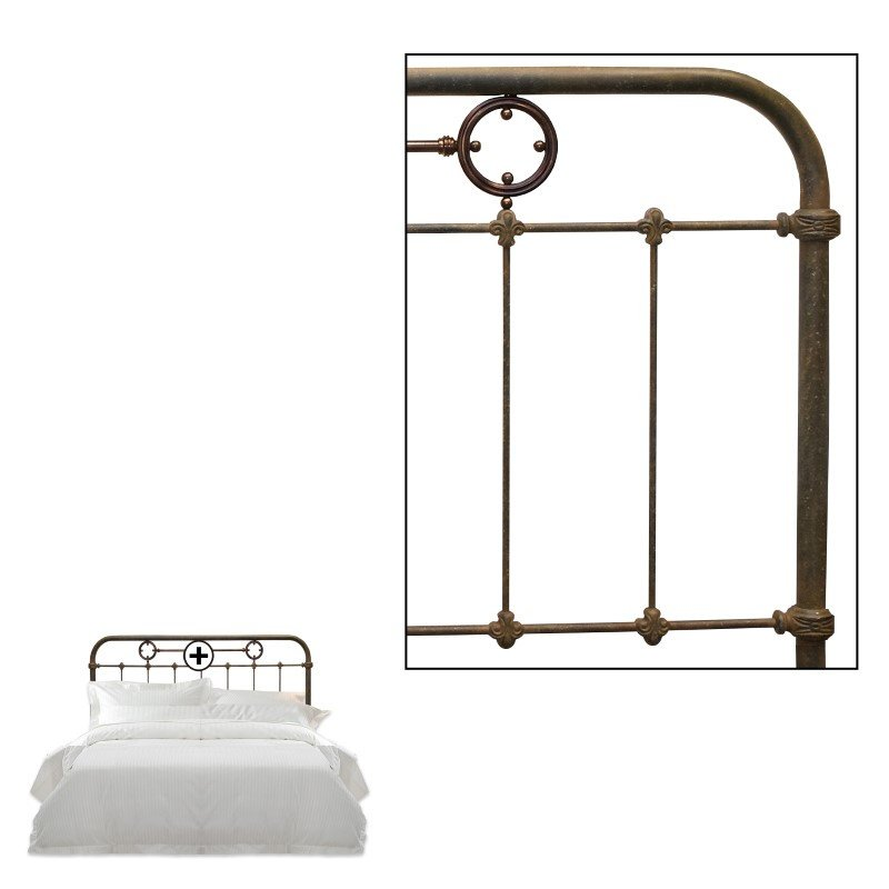 Fashion Bed Group Madera Metal Headboard Panel with Brass Plated Designs and Castings - Rustic Green Finish - California King