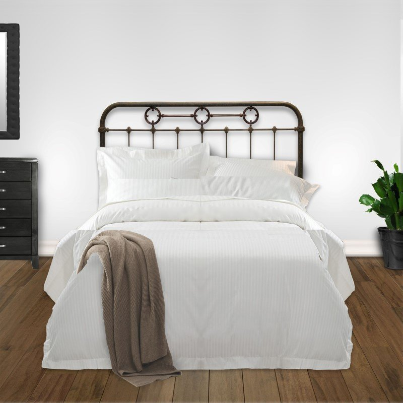 Fashion Bed Group Madera Metal Headboard Panel with Brass Plated Designs and Castings - Rustic Green Finish - King