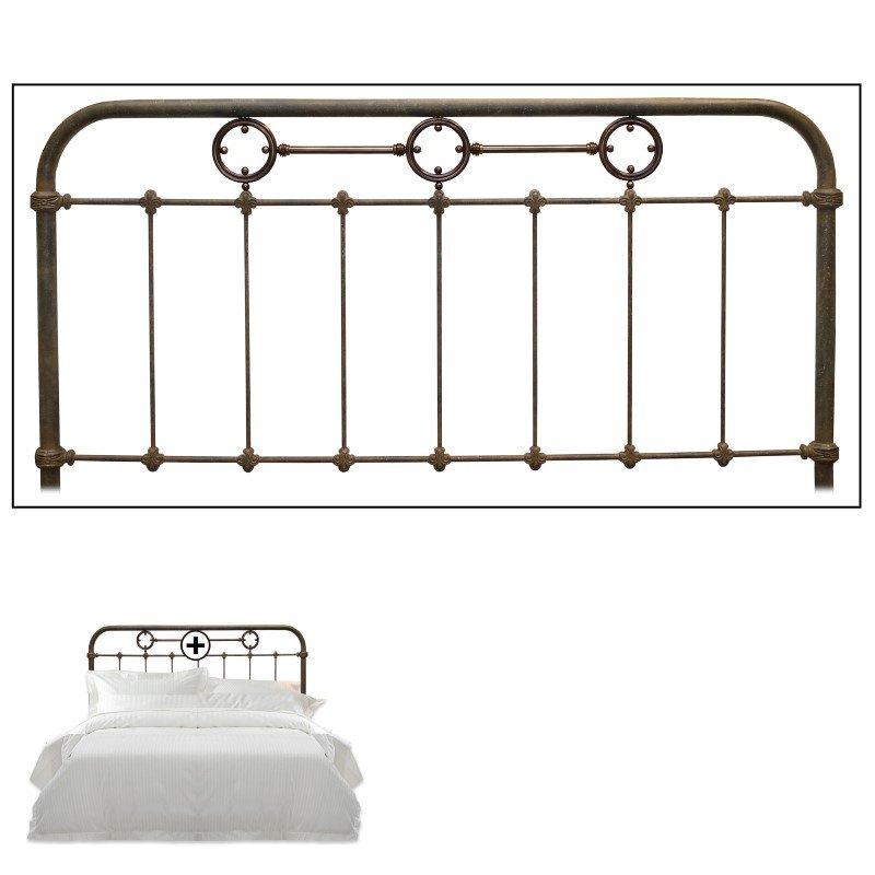 Fashion Bed Group Madera Metal Headboard Panel with Brass Plated Designs and Castings - Rustic Green Finish - Queen