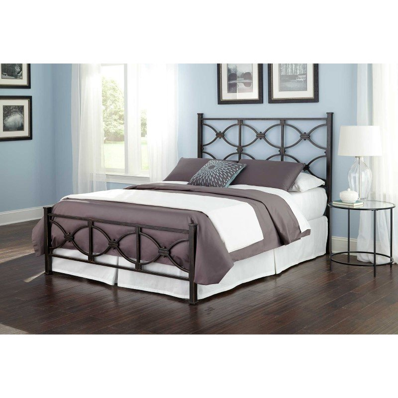 Fashion Bed Group Marlo Complete Bed with Metal Duo Panels and Squared Finial Posts - Burnished Black Finish - California King