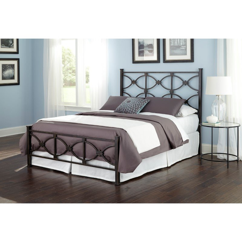 Fashion Bed Group Marlo Complete Bed with Metal Duo Panels and Squared Finial Posts - Burnished Black Finish - Queen