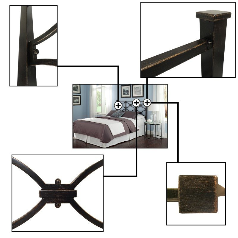 Fashion Bed Group Marlo Metal Headboard Panel with Squared Finial Posts - Burnished Black Finish - Full