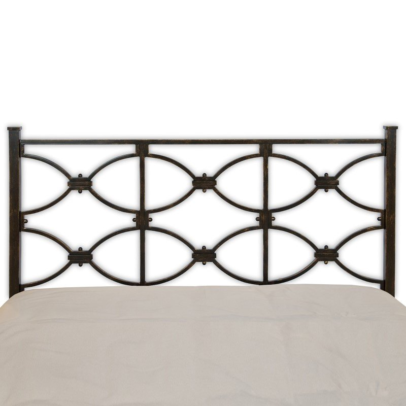 Fashion Bed Group Marlo Metal Headboard Panel with Squared Finial Posts - Burnished Black Finish - Queen