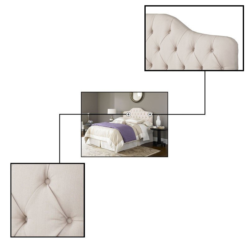 Fashion Bed Group Martinique Complete Bed with Upholstered Headboard and 45G Steel Support Frame - Ivory Finish - Twin
