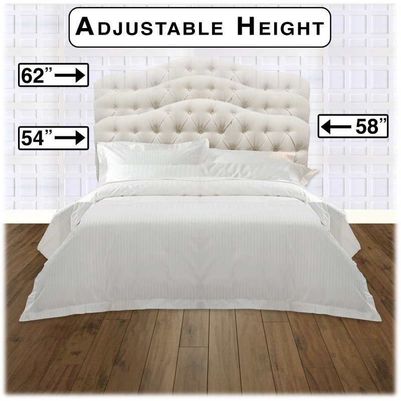 Fashion Bed Group Martinique Complete Bed with Upholstered Headboard and Q45G Steel Support Frame - Ivory Finish - Full/Queen