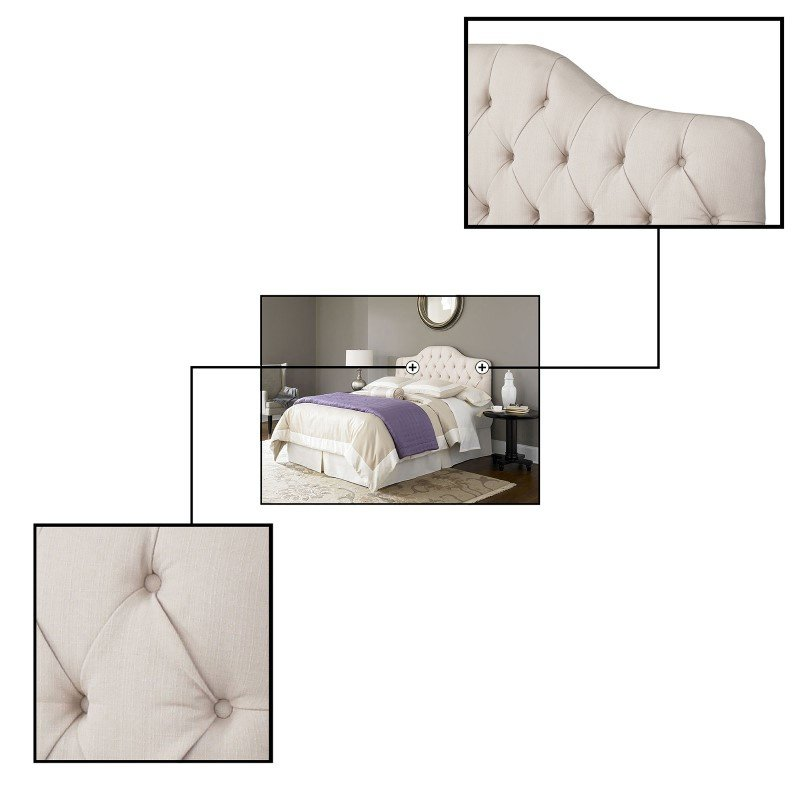 Fashion Bed Group Martinique Upholstered Adjustable Headboard Panel with Solid Wood Frame and Button-Tufted Design - Ivory Finish - Full/Queen