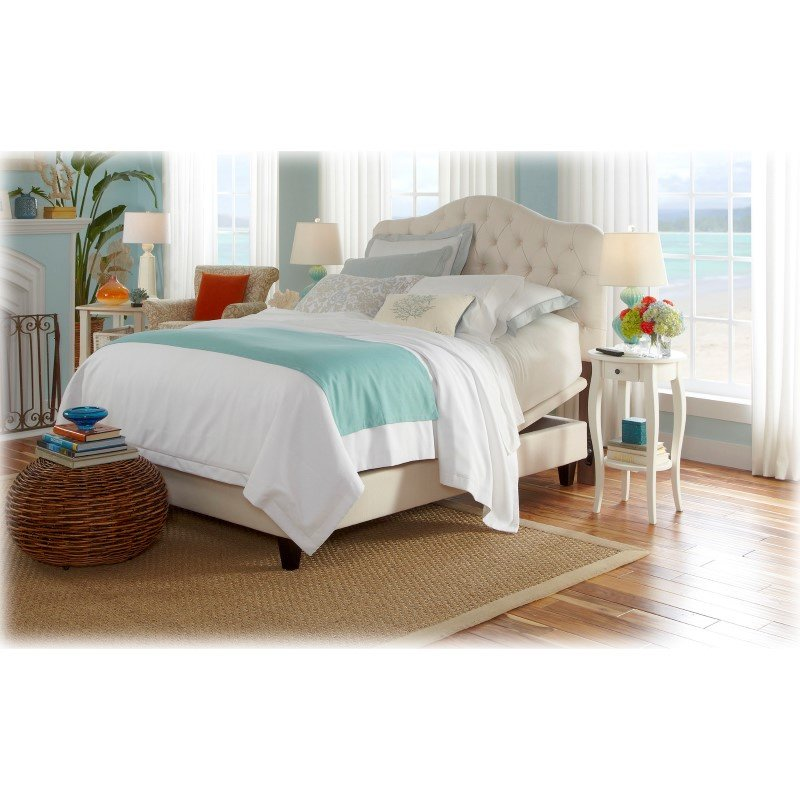 Fashion Bed Group Martinique Upholstered Adjustable Headboard Panel with Solid Wood Frame and Button-Tufted Design - Ivory Finish - King/California King