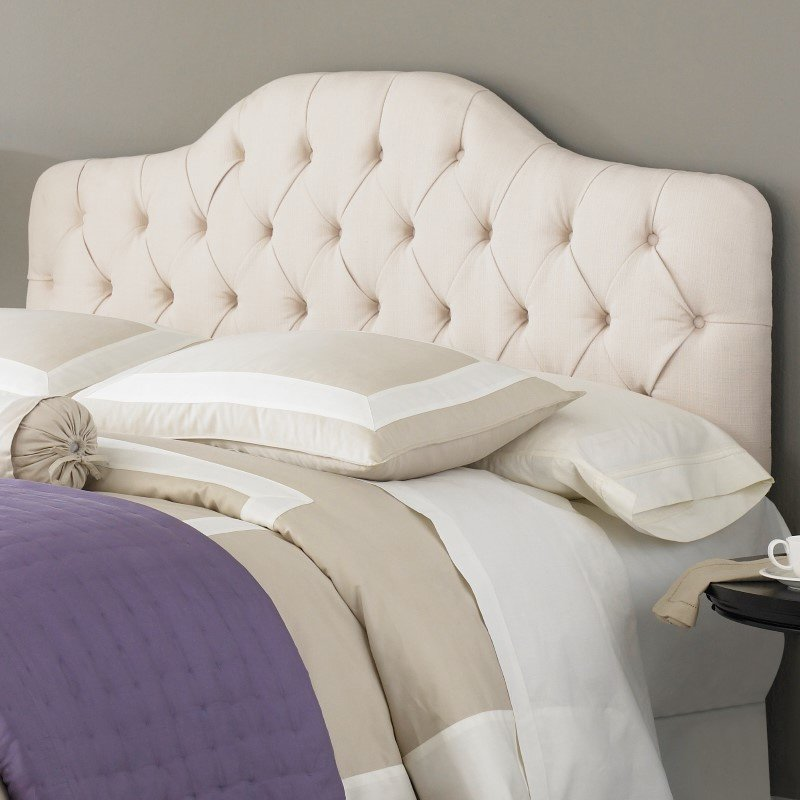 Fashion Bed Group Martinique Upholstered Adjustable Headboard Panel with Solid Wood Frame and Button-Tufted Design - Ivory Finish - Twin