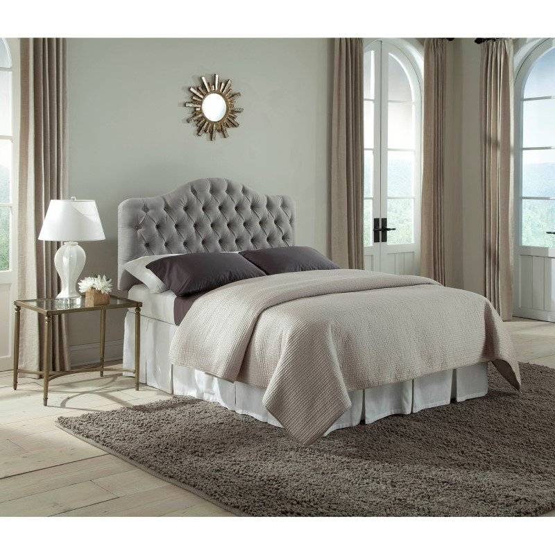 Fashion Bed Group Martinique Upholstered Adjustable Headboard Panel with Solid Wood Frame and Button-Tufted Design - Putty Finish - Full/Queen