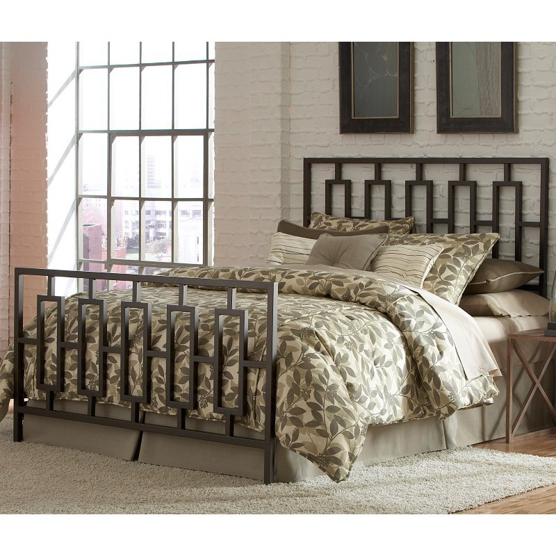 Fashion Bed Group Miami Complete Bed with Squared Metal Tubing and Geometric Design - Coffee Finish - California King