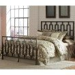 Fashion Bed Group Miami Complete Bed with Squared Metal Tubing and Geometric Design - Coffee Finish - Queen