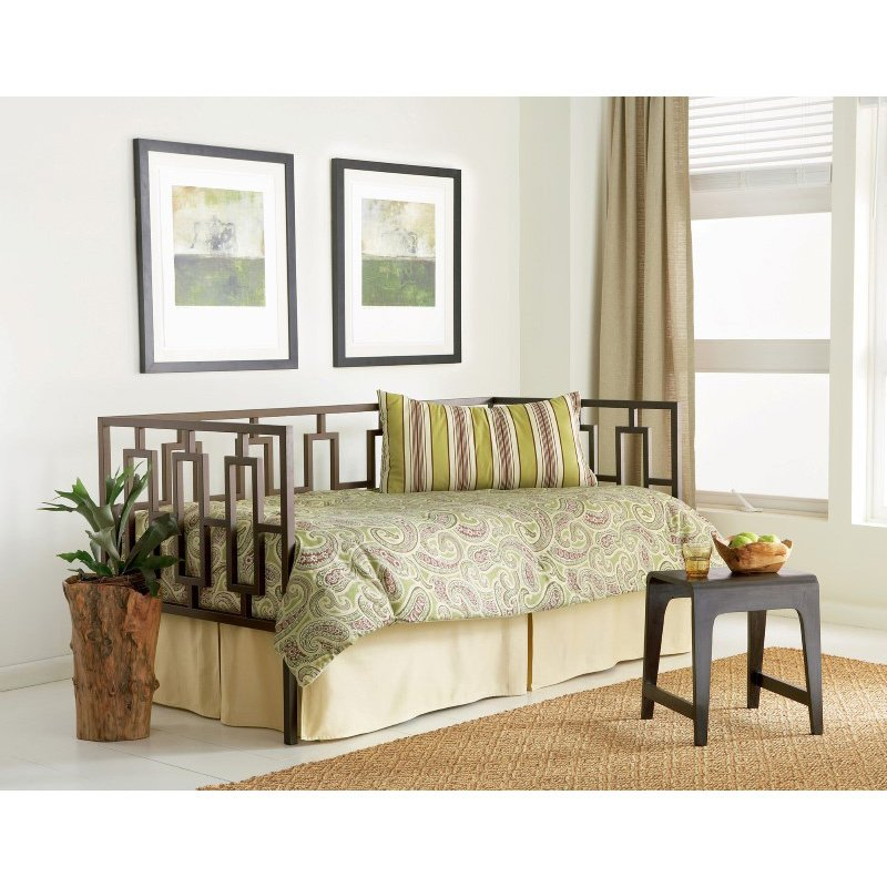 Fashion Bed Group Miami Metal Daybed Frame with Squared Tubing and Geometric Design - Coffee Finish - Twin