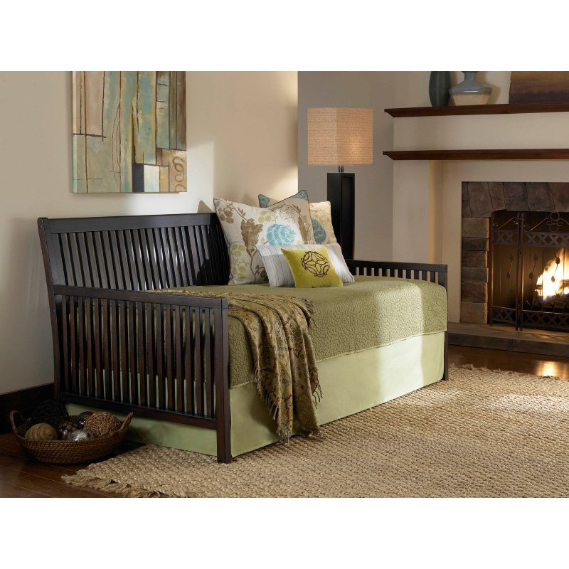 Fashion Bed Group Mission Wood Daybed Frame with Open-Slatted Back and Side Panels - Espresso Finish - Twin