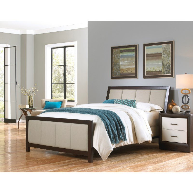 Fashion Bed Group Monterey Complete Bed with Wood Panels and Mouse Upholstery - Espresso Finish - King