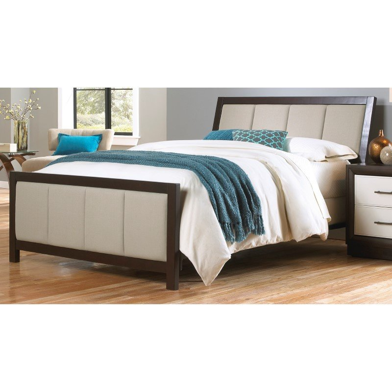 Fashion Bed Group Monterey Complete Bed with Wood Panels and Mouse Upholstery - Espresso Finish - Queen