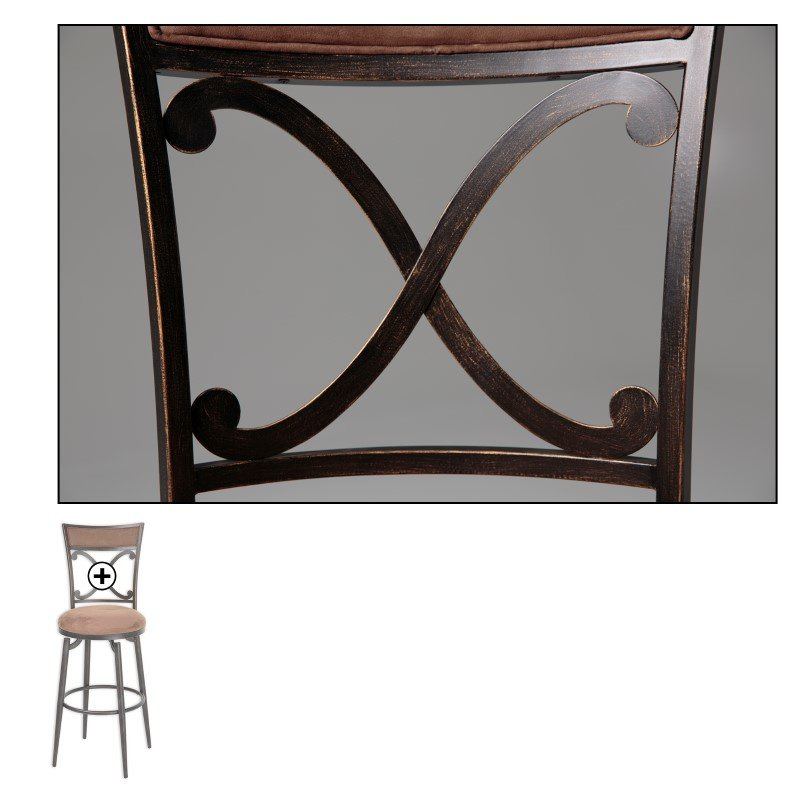 Fashion Bed Group Montgomery Metal Barstool with Cocoa Microfiber Swivel-Seat and Blackened Bronze Frame Finish - 30-Inch