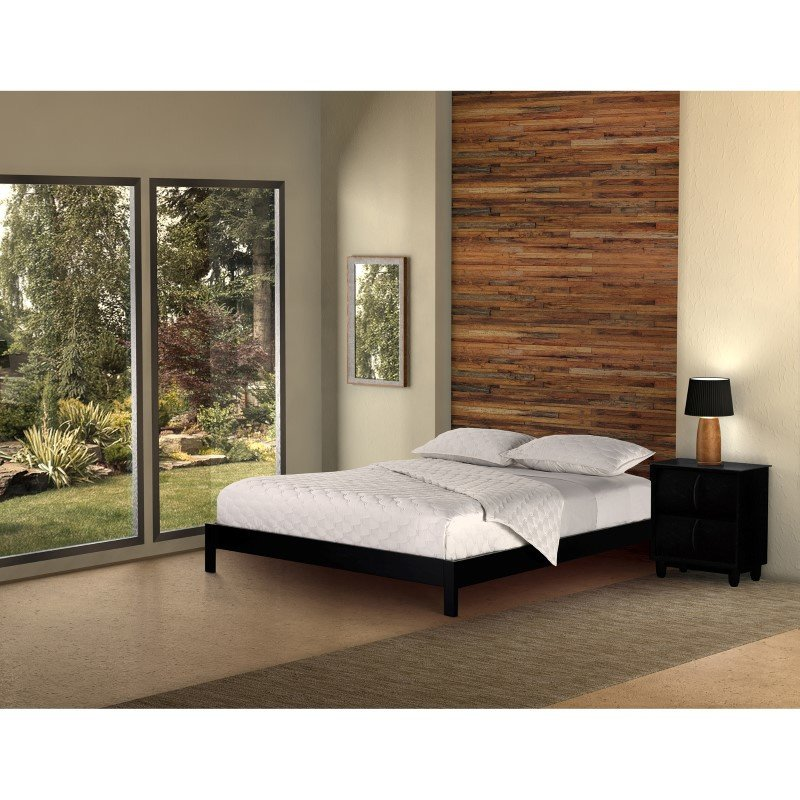 Fashion Bed Group Murray Platform Bed with Wooden Box Frame - Black Finish - California King