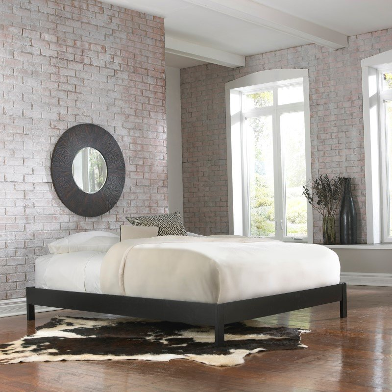 Fashion Bed Group Murray Platform Bed with Wooden Box Frame - Black Finish - Queen